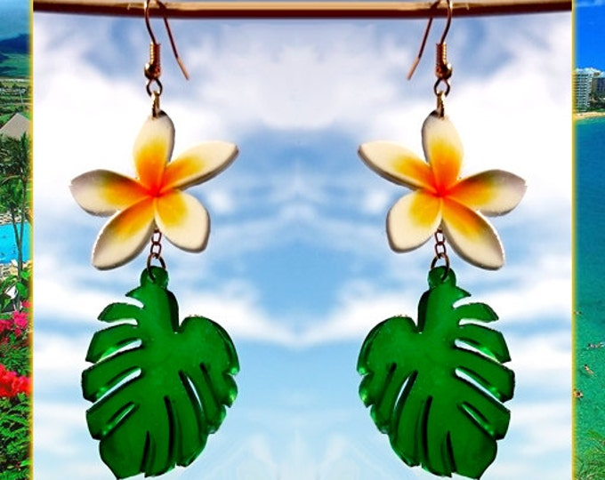Plumeria & Palm Leaf - Earrings - Monstera Earrings - Tropical - Summer Jewelry - Aloha - Wahine - Hula Girl Jewelry - Glitter Paradise®