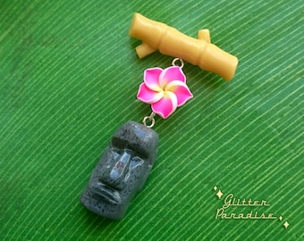 Moai, Bamboo & Plumeria - Brooch - Tiki Jewelry - Aloha - Moai - Easter Island - Hibiscus - Totem - Tropical - Wahine - Glitter Paradise®