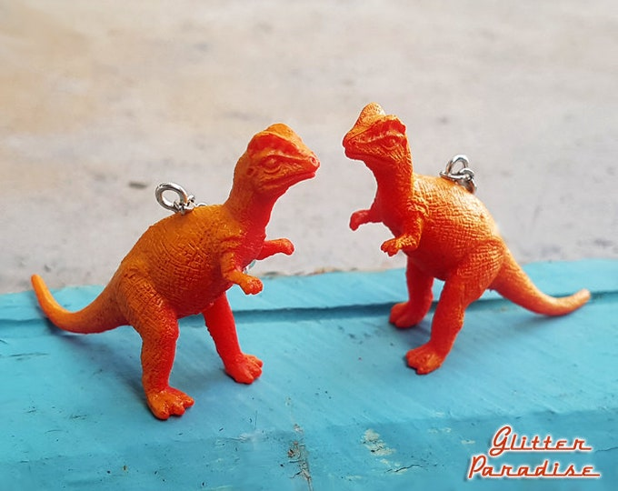 Dino Diplo - Earrings - Dinosaur - Dilophosaurus - Dinosaur Jewelry - Early Jurassic Period - Dilophosaurus Wetherilli - Glitter Paradise®