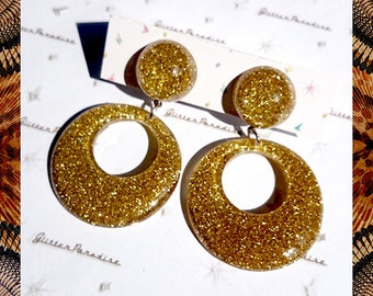 Confetti Lucite Hoops & Dômes Gold - Earrings - Confetti Lucite - Hoops Earrings - Glitter Hoops - Retro - Pinup - 50s - Glitter Paradise®