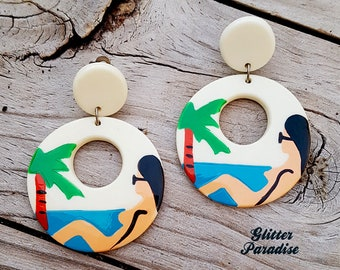 Original Vintage Beach Bum Hoops - Earrings - Mid-Century Modern - Celluloid - Palm Beach - Retro Summer - Glitter Paradise®