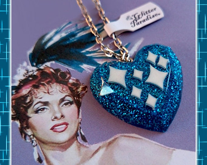 Confetti Lucite Sparkles Heart Blue - Necklace - Mid-Century Modern - Sparkles - Glitter Heart - Retro Jewelry - Pinup - Glitter Paradise®