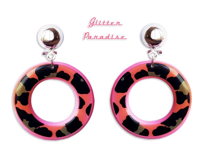 Wild Pink and Black Hoops - Earrings - Hoops & Domes - Vintage Barbie Hoops - Pinup - Wild Retro Hoops - 50s - Vixen - Glitter Paradise®