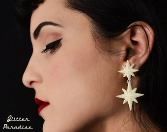 Double Winter Starlite - Starburst Earrings - Retro Star Jewelry - Stars - Motel Starlite - 1950's - Mid-Century Modern - Glitter Paradise®