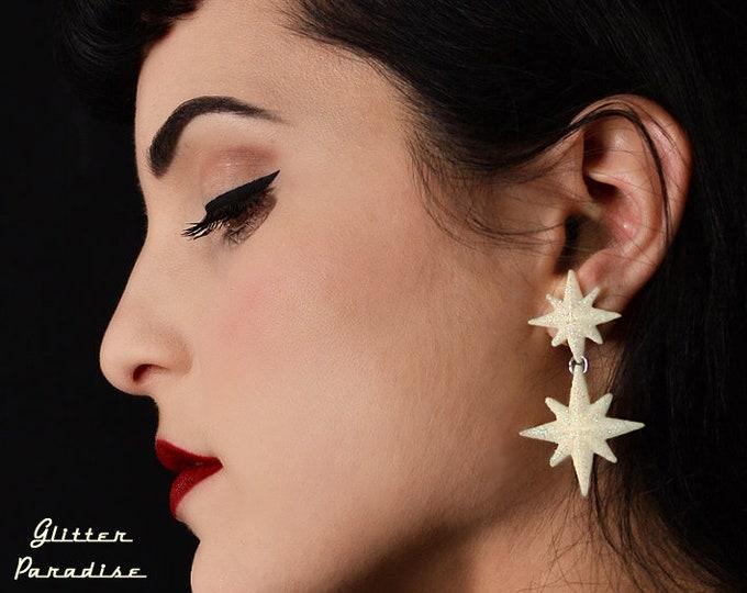 Double Winter Starlite - Starburst Earrings - Retro Star Jewelry - Stars - Motel Starlite - 1950's - Mid-Century Modern - Glitter Paradise®