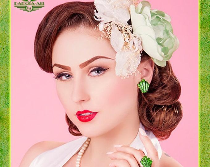 Confetti Lucite Art Deco Shell Green - Earrings - Glitter Earrings - Lucite - Retro Earrings - 50s - Mid-Century - Pinup - Glitter Paradise®