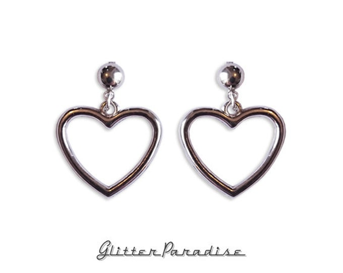 Retro Heart - Earrings - Retro Hearts - Hearts - Valentine - Love - I Love U - Romantic - Heart Jewelry - Amour - Glitter Paradise®