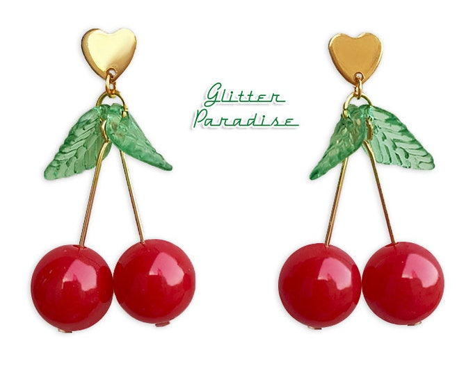 Love Cherries - Earrings - Cherry - Sweet Cherries - Pinup - Retro - Rockabilly - Cherry Jewelry - Pin-up Jewelry - Glitter Paradise®