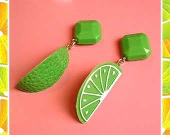 Fakelite Lime Slices - Earrings - Lemon - Orange - Citrus - Fruits - Vintage Exotica - Fakelite - 50s - Retro - Pinup - Glitter Paradise®
