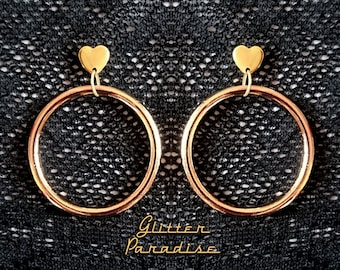Marilyn Hoops & Hearts - Earrings -  Barbie Hoops - Pinup Hoops - Hoops Earrings - Gold Hoops - 50s - Retro Hoops Gold - Glitter Paradise®