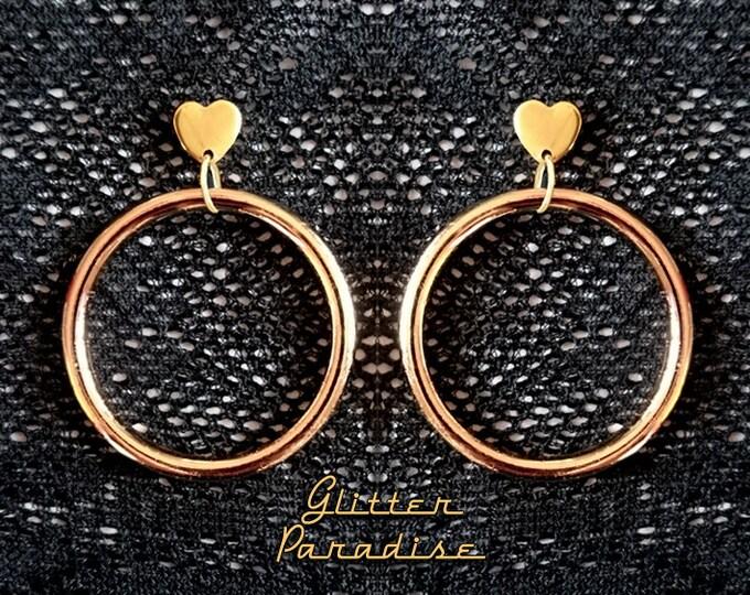 Marilyn Hoops & Hearts - Earrings -  Barbie Hoops - Pinup Hoops - Hoops Earrings - Gold Hoops - 50s - Retro Hoops Gold - Glitter Paradise®