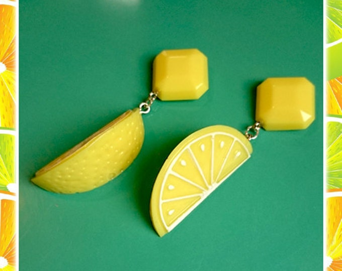 Fakelite Lemon Slices - Earrings - Lemon - Orange - Citrus - Fruits - Vintage Exotica - Fakelite - 50s - Retro - Pinup - Glitter Paradise®