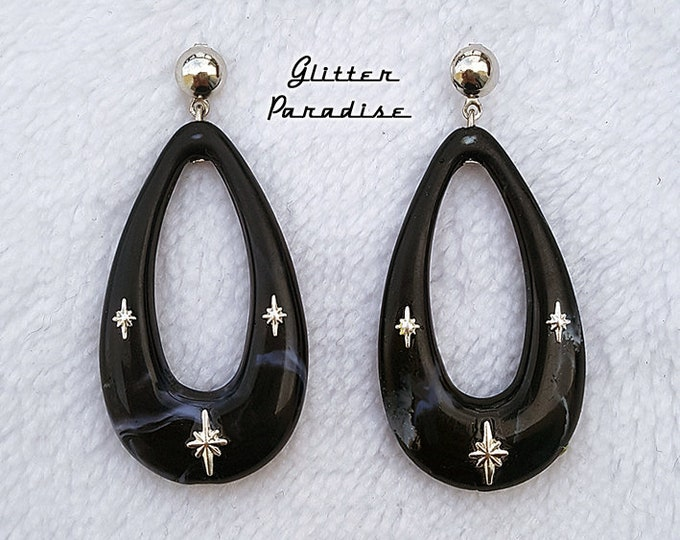Atomic Oval Hoops - Earrings - Mid-Century Modern Jewelry - Starlite Motel - Retro Pinup Hoops - Fifties Starlite Hoops - Glitter Paradise®