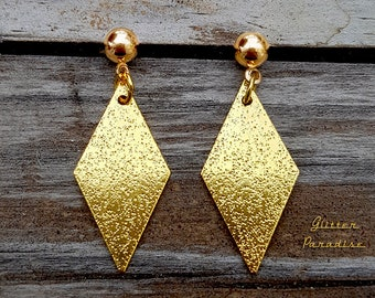 Mid-Century Modern Diamond - Earrings - Diamond Shape - Retro Losange Rhombus - Gold Diamond Jewelry - Vintage Inspired - Glitter Paradise®