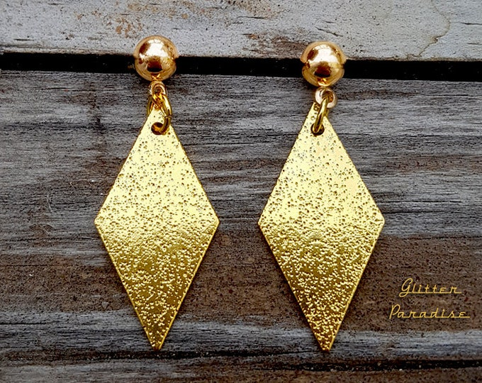 Mid-Century Modern Diamond - Earrings - Diamond Shape - Retro Losange Rhombus - Gold Diamond Jewelry - Vintage Inspired - Glitter Paradise®