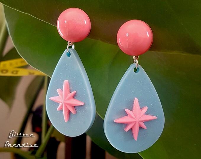 Motel Drop Deluxe - Starlite Earrings - Retro Star Jewelry - Stars - 50s Motel Style - Mid-Century Modern Drop Earrings - Glitter Paradise®