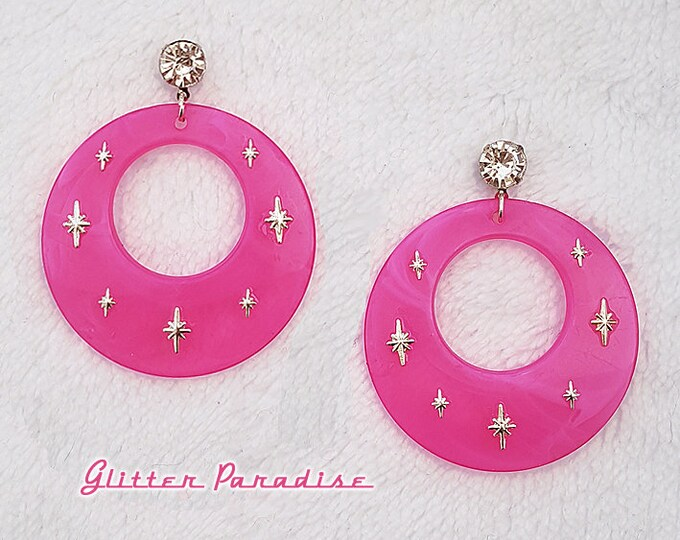 Atomic Hoops Candy - Earrings - Retro Hoops & Domes - Candy Hoops - Pinup Hoops - Hoops Earrings - Sweet Retro Hoops - Glitter Paradise®