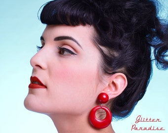 Hoops & Dômes Plain - Earrings - Hoops Earrings - Retro Hoops - Pinup - 50s - Fakelite - Marilyn Hoops - Pin-Up - Glitter Paradise®