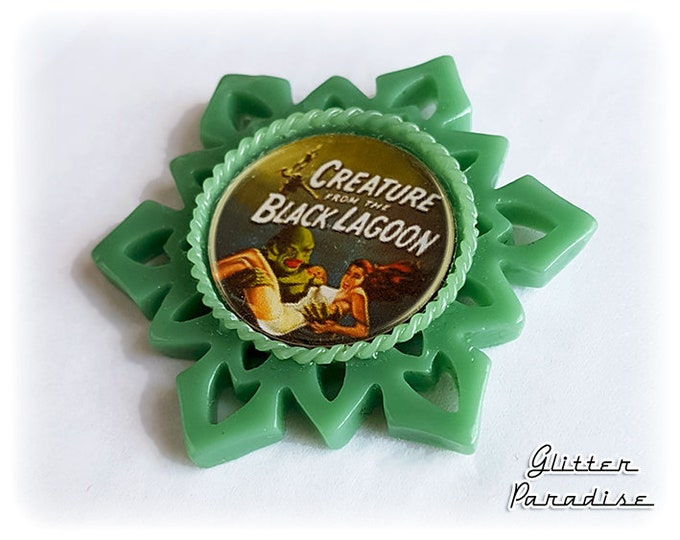 Starburst The Creature - Brooch - Creature from the Black Lagoon - Revenge of the Creature  - 50s - Vintage Horror Movie - Glitter Paradise®