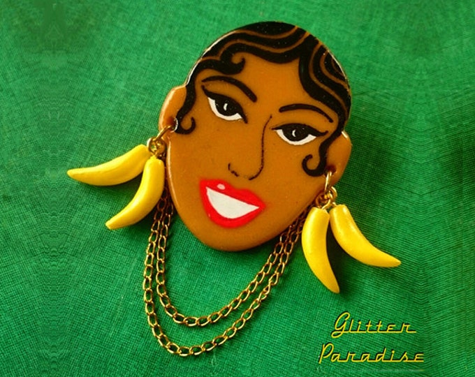 Josephine Baker - Vintage Replica - Brooch - Jo Baker - Black Venus - Charleston - Freda Josephine McDonald - Bananas - Glitter Paradise®