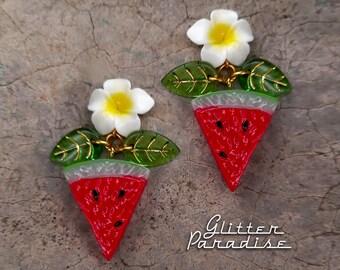 Hawaiian Watermelon - Earrings - Tropical - Carmen Miranda - Plumeria Jewelry - Vintage Exotica - Tutti Frutti - Retro - Glitter Paradise®