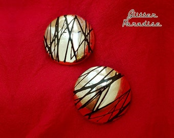 Original Vintage Stripped Gold Dômes - Earrings - 1950s Jewelry - Authentic Vintage - Retro Jewelry - 1950 Retro Jewelry - Glitter Paradise®