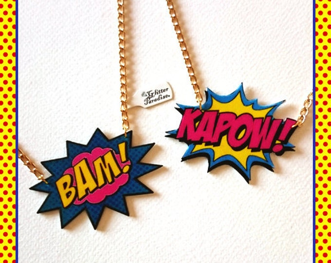 BAM! KAPOW! - Necklace - Cosplay - Comic - Super Hero - Comics - DC Comic - Fight - Cartoon - Manga - Marvel - Pop Art - Glitter Paradise®
