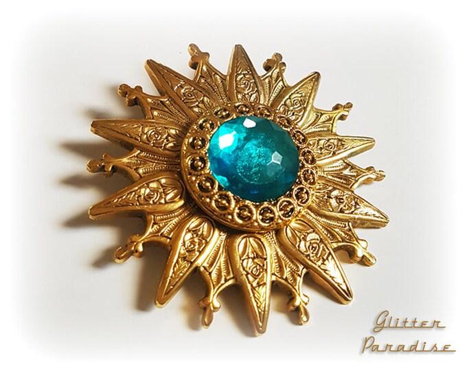 Original Vintage Oriental Sunburst - Brooch - Star Brooch - Sun Brooch - 1950 - Sunburst Mirror - Starburst - Celestial - Glitter Paradise®