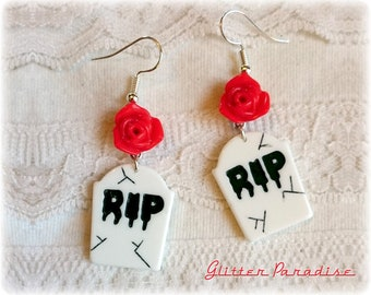 RIP - R.I.P Earrings - Grave - Stone Yard - Roses - Graveyard - Gothic - Occult - Gravestone - Grave Cemetery - Ghost - Glitter Paradise®