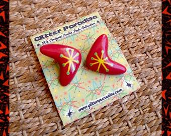 Atomic Boomerang Red & Yellow - Earrings - Mid-Century Modern - 1950s - 1960s - Retro - Pinup Jewelry - Molecular - Atom - Glitter Paradise®
