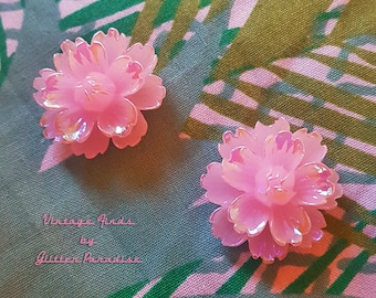 Pink Peony - Earrings - Sakura - Pink Flower - Pink Flower Jewelry - Retro 50s - Pinup Jewelry - Floral - Pink Earrings - Glitter Paradise®