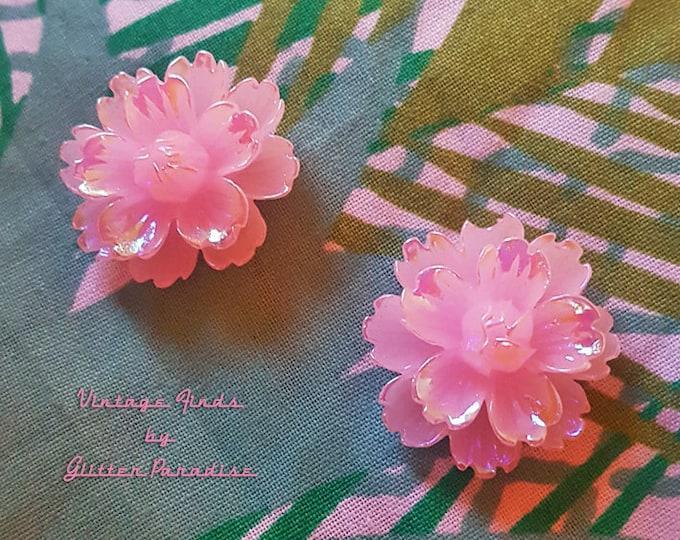 Pink Peony - Earrings - Sakura - Pink Flower - Pink Flower Jewelry - Retro 50s - Pinup Jewelry - Floral - Pink Earrings - Glitter Paradise®