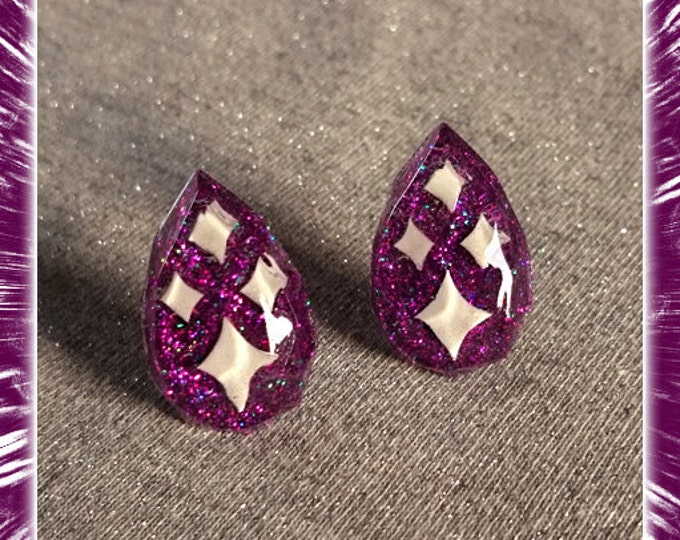 Lucite Sparkles Facet Drop Purple - Earrings - Mid-Century Modern - Sparkles - Glitter Earrings - Retro Jewelry - Pinup - Glitter Paradise®