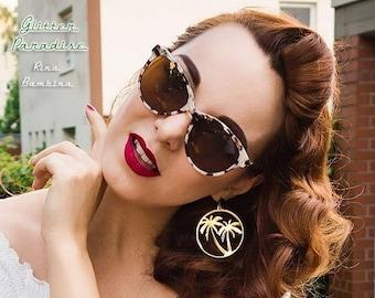 Palm Spring Hoops - Earrings - Retro Hoops - Vintage Inspired - Palm Jewelry - Marilyn Hoops Earrings - Chain Gold Hoops - Glitter Paradise®