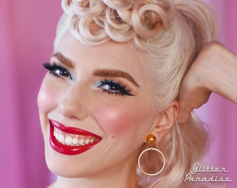 Marilyn Hoops Slim Gold - Earrings - Hoops & Domes - Barbie Hoops - Pinup Hoops Earrings - 1950's Retro Hoops Earrings - Glitter Paradise®