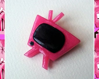 Fakelite Retro TV Pink - Brooch - TV Brooch - Retro Television - Motel TV - 1950s - Glitter - Mid-Century Modern - Glitter Paradise®