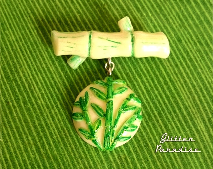 Bamboo Vintage Repro - Brooch - Bamboo Jewelry - Aloha - Chinese Brooch - Bamboo Brooch - Bamboo Root - Bamboo Leaves - Glitter Paradise®