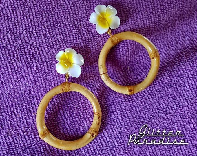 Bamboo & Plumeria Hoops - Earrings - Bamboo Hoops Earrings - Vintage Exotica Style - Hula Pinup Girl - Bamboo Jewelry - Glitter Paradise®