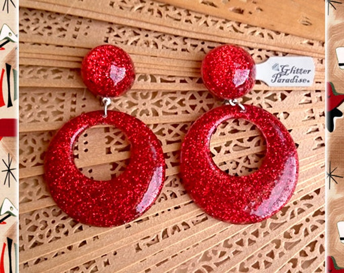 Confetti Lucite Hoops & Dômes Red - Earrings - Confetti Lucite - Hoops Earrings - Glitter Hoops - Retro - Pinup - 50s - Glitter Paradise®