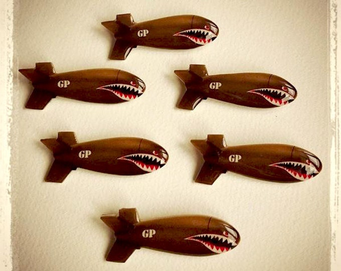 Shark Bomb - Brooch - Bomber - Shark Teeth - WWII - Flying Tigers - P-40 Warhawk - Army - Veteran Day - Aviation - Retro - Glitter Paradise®