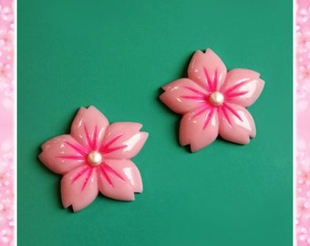 Cherry Blossom - Earrings - Sakura - Pink Flower - Japan - Flower Jewelry - Retro 50s - Pinup Jewelry - Floral - Nature - Glitter Paradise®