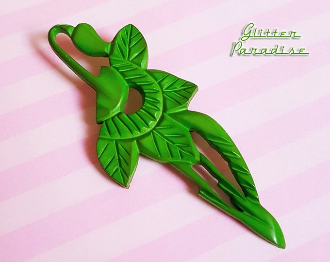 Original Vintage 1950's Celluloid Plant Bunch - Brooch - Novelty Brooch - Vintage Celluloid - Green Brooch - Retro Jewelry Glitter Paradise®
