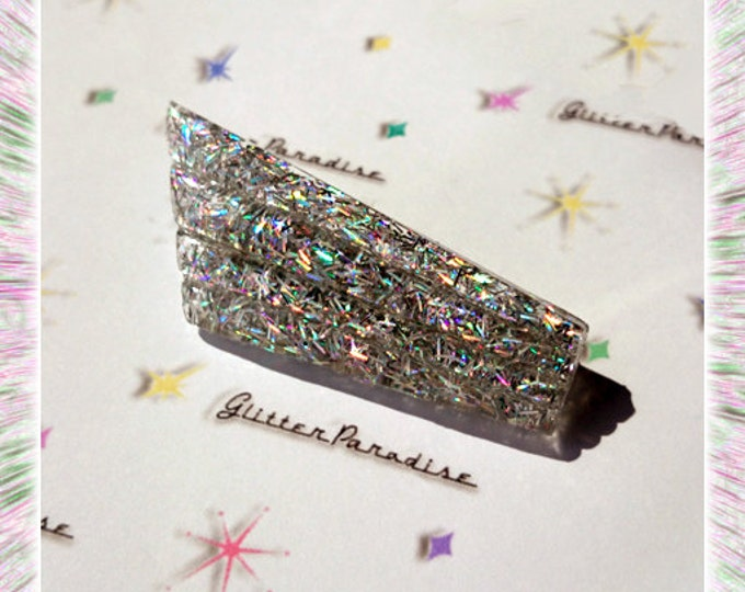 Confetti Lucite Chevy Wings Silver - Brooch - Chevrolet - Mid-Century Modern - 50s - Retro - Vintage Inspired - Glitter - Glitter Paradise®