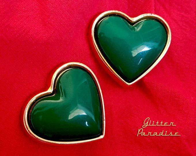 Original Vintage Emerald Heart - Earrings - 1980s Jewelry - Authentic Vintage Jewelry - Vintage 80s Jewelry - Emerald - Glitter Paradise®