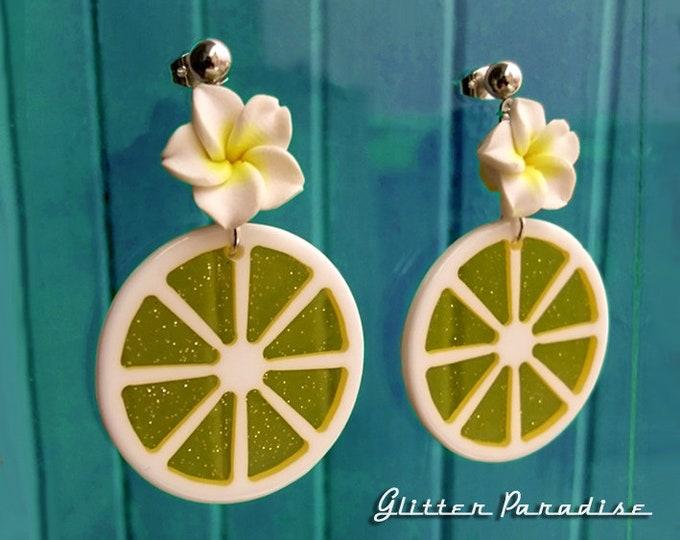 Citrus & Plumeria - Earrings - Lemon Jewelry - Orange Earrings - Retro Tropical - Hawaiian Jewelry - Plumeria Jewelry - Glitter Paradise®