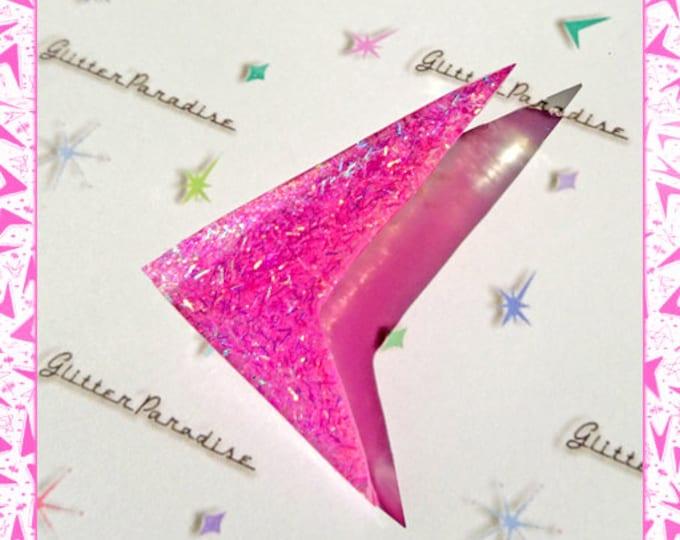 Confetti Lucite Sharp Boomerang Candy - Brooch - Atomic Boomerang - Mid-Century Modern - 50's - Retro Lucite - Pinup - Glitter Paradise®