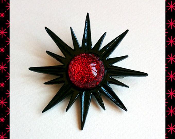 Mid-Century Modern Sunburst Black & Red - Brooch - Star Brooch - Sun Brooch - 1950 - Sunburst Mirror - Starburst Brooch - Glitter Paradise®
