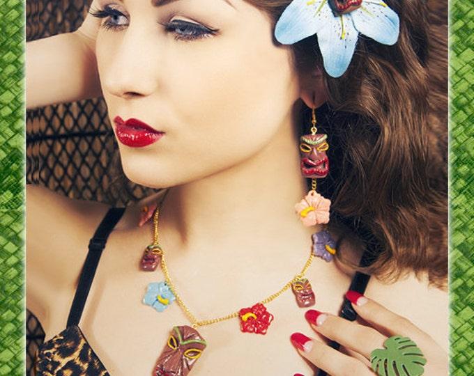 Tiki & Hibiscus - Necklace - Tiki Jewelry - Aloha - Oasis - Moai - Easter Island - Hibiscus - Totem - Tropical - Wahine - Glitter Paradise®