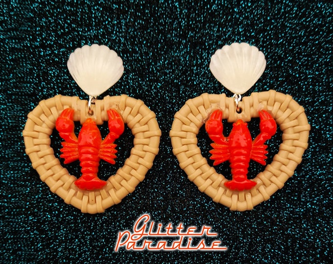 Rattan Love Lobster - Earrings - Rattan Raffia Jewelry - Heart Earrings - Sea Summer Earrings - 50s Red Lobster Earrings - Glitter Paradise®