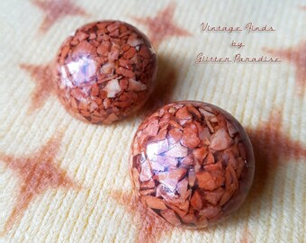 Original Vintage 1950's Brown Rocks Dômes - Earrings - 1950s Rocks Earrings - Authentic Vintage Finds - Retro Jewelry - Glitter Paradise®